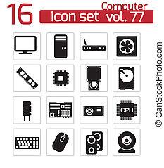 vettore, nero, pc, componenti, icone, set