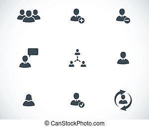 vettore, nero, persone ufficio, icone, set