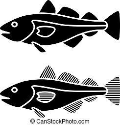 vettore, nero, pesci merluzzo, silhouette