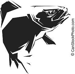 vettore, nero, piranha, illustrazione