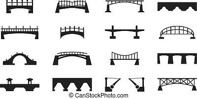 vettore, nero, ponti, icone, isolato, bianco, costruzione urbana, silhouette