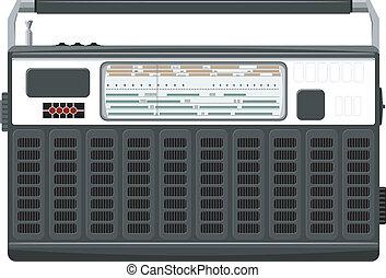 vettore, nero, portatile, casing., radio, eps10, ...