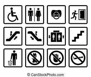 vettore, nero, pubblico, icone
