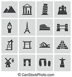 vettore, nero, punto di riferimento, icone, set