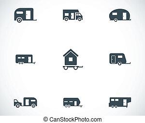 vettore, nero, roulotte, icone, set