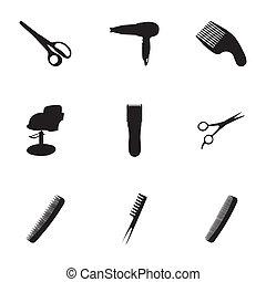 vettore, nero, set, barbiere, icone