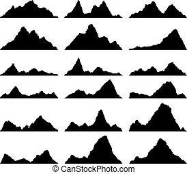 vettore, nero, set, bianco, montagna, silhouette