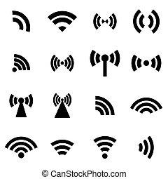 vettore, nero, set, fili, icone