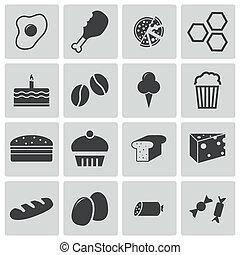 vettore, nero, set, icone cibo