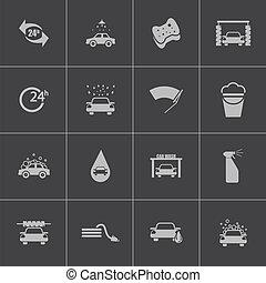 vettore, nero, set, lavare, automobile, icone