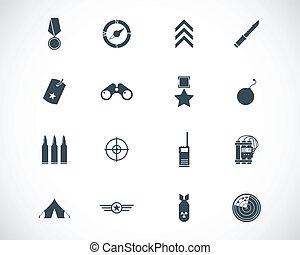 vettore, nero, set, militare, icone