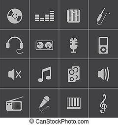 vettore, nero, set, musica, icone