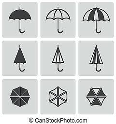 vettore, nero, set, ombrello, icone
