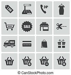 vettore, nero, set, shopping, icone