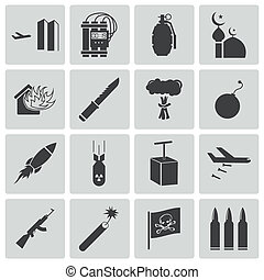 vettore, nero, set, terrorismo, icone