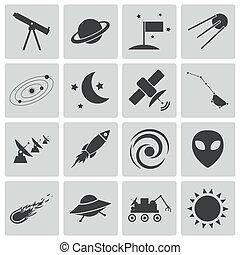 vettore, nero, spazio, set, icone