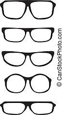 vettore, nero, spesso, occhiali, set