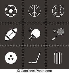 vettore, nero, sport, icone, set