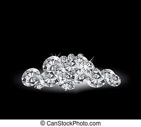 vettore, nero, superficie, diamanti