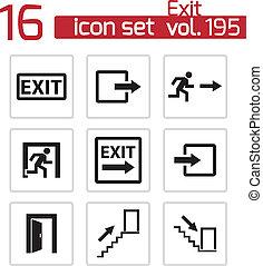 vettore, nero, uscita, icone, set