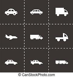 vettore, nero, veicoli, icone, set