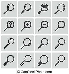 vettore, nero, vetro, ingrandendo, set, icone