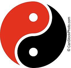 vettore, nero, yin, icona, yang, armonia, rosso, simbolo
