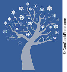 vettore, neve, albero