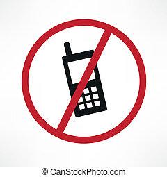 vettore, no, cellphone, segno