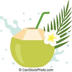 vettore, noce di cocco, succo, con, plumeria