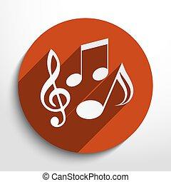 vettore, note musica, icona