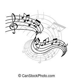 vettore, note musica, su, personale, icona