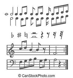 vettore, note, set, musica, icone