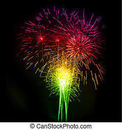vettore, notte, fireworks, sky.