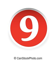vettore, nove, numero, rosso, etichetta