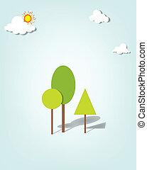 vettore, nubi, applique., albero, sotto