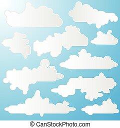 vettore, nubi, cartone animato, illustrazione, pacco