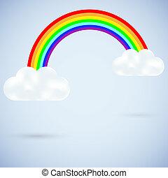 vettore, nubi, con, uno, arcobaleno, su, blue., meglio,...