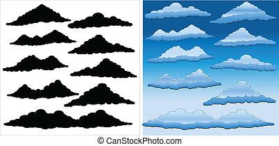 vettore, nubi, pacco