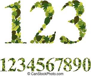 vettore, numeri, fatto, set, foglie, illustrati, numeri, floreale