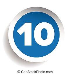 vettore, numero, dieci, icona