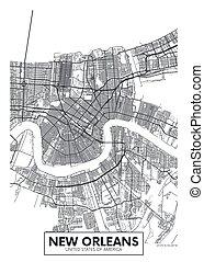 vettore, nuovo, disegno, orleans, città, viaggiare, mappa, manifesto