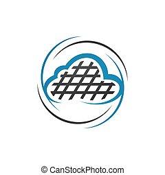 vettore, nuvola, illustrazioni, logotipo, tecnologia, digitale