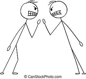 vettore, o, lotta, due, arrabbiato, illustrazione, uomini, uomini affari, arguire, cartone animato, argomento