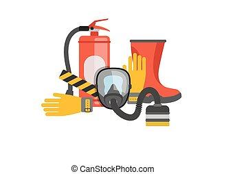 vettore, o, set, extinguisher., salvataggio, fuoco, maschera...