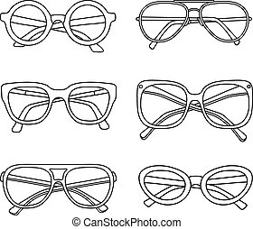 vettore, occhiali da sole, icone