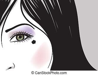 vettore, occhio, illustrazione, faccia, parte, verde, ragazza