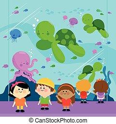 vettore, oceanarium., bambini, illustrazione, visitare
