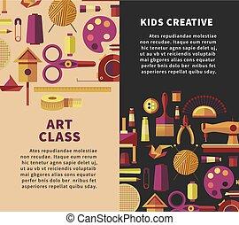 vettore, officina, bambini, arte, manifesto, fatto mano, creativo, mestiere, bricolage, artigianato, classi, o, progetti
