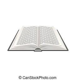 vettore, oggetto, illustrazione, educazione, realistico, carta, 3d, libro aperto
